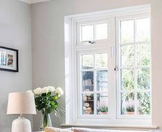 White Everest uPVC casement window in a lounge Casement Windows, Windows And Doors, Window Glazing, Lounge, Exterior, Home, Window Glass, Airport Lounge, House