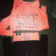 Coral orange love pink jacket and yoga pants