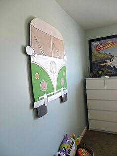 LOVE this VW Bus wall decor - so fun!