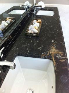 "Master Bath vanity with ""Titanium"" granite and Kohler ""Archer"" sinks Granite Edges, Dark Granite Countertops, Black Granite, Granite Bathroom, Granite Kitchen, Titanium Granite, Master Bath Vanity, Hickory Flooring, Kitchen"