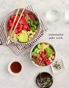 Juicy watermelon takes the place of fish in this fresh, fun vegan take on a poke bowl! I finish them off with creamy avocado, rich macadamia nuts, crisp cucumber, and tangy pickled ginger. Salad Recipes, Vegan Recipes, Broccoli Recipes, Turkey Recipes, Rice Recipes, Cookie Recipes, Chicken Recipes, Recipies, Move Over