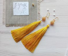 Dangle Earrings / Yellow tassels earrings made of silk thread – a unique product by Nadia-NadiArt via en.DaWanda.com