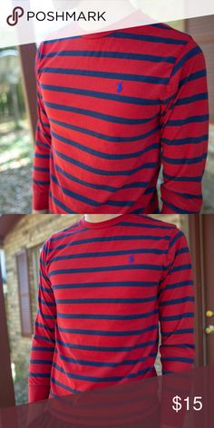 e9ae16ae9 Ralph Lauren Polo Red and Navy Striped T-shirt Ralph Lauren Polo Red and  Navy