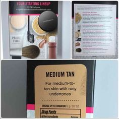 """BareMinerals Medium Tan Foundation Kit Mascara 6pc In stock NOW! 1.) Original Foundation SPF 15 in """" MEDIUM TAN"""" (2 G / 0.07 OZ) 2.) Mini Prime Time Foundation Primer (15 ML / 0.5 OZ) 3.) SPF 25 Mineral Veil Finishing Powder (.75G / 0.03 OZ) 4.) Flawless Definition Volumizing Mascara in """"Black"""" (10 ML / .33 OZ) 5.) 100% Natural Lip Gloss in """"Cupcake"""" ( 4.2 ML / 0.14 OZ) 6.) Flawless Application Face Brush It is (NIB) New in the Box and has NOT Been Opened or Tested.  🎀Discounts only with…"""
