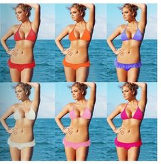 Beach Sexy Bikini Push-Up Halter Top Hipkini Bottom Red-DM039