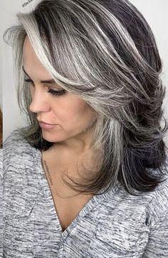 Grey Hair Over 50, Long Gray Hair, Grey Wig, Silver Grey Hair Gray Hairstyles, Grey Hair Transformation, Gray Hair Highlights, Grey Hair Lowlights, Medium Hair Styles, Long Hair Styles
