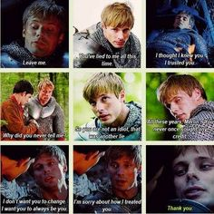 Arthur finding out about merlin! The last episode! I cried so much. I'm still depressed that this show is over. Bradley James, Merlin And Arthur, King Arthur, Merlin Memes, Merlin Quotes, Merlin Funny, Sherlock Quotes, Merlin Fandom, Merlin Merlin