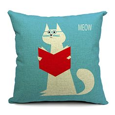 Chicozy Housewares animal doctor cat read book blue Pillow covers Cushion covers Linen pillow cover Home Decor Throw pillow CAN-062 $7.99