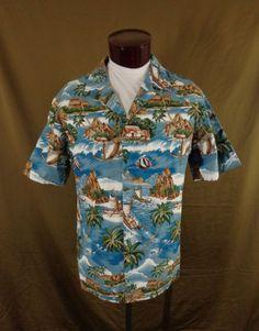 Vintage RJC Blue Outrigger Tribal Island Ocean Scene Hawaiian Shirt – XL - VLV #RJC #Hawaiian #VLV
