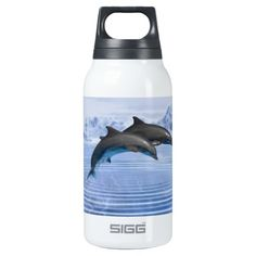 Dolphins in the clear blue sea thermos bottle