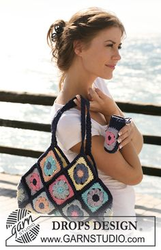 """DROPS bag and mobile phone pocket in """"Paris"""" with crochet squares. ~ DROPS Design"""