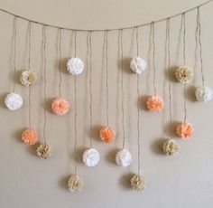 shower Photography Pom Poms - Pom Pom Garland, Peach and Creams Tissue Paper Flowers Wedding Garland DIY Kit, Party Decoration Kit, Baby Bunting Banner, Bridal shower. Paper Flower Garlands, Paper Flowers Wedding, Tissue Paper Flowers, Diy Flowers, Paper Poms, Tissue Paper Pom Poms Diy, Wedding Paper, Birthday Decorations, Table Decorations