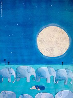 The best dream, by montse clotet. From my second illustrated story.  Jungle, illustration, elephant, moon, wolf, girl.