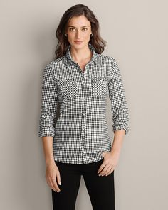 Stine's Favorite Flannel Shirt, black and white checks. More conservative and muted colors. | Eddie Bauer