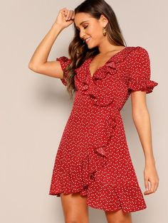 To find out about the Heart Print Ruffle Wrap Dress at SHEIN, part of our latest Dresses ready to shop online today! Surplice Dress, Belted Dress, The Dress, Ruffle Dress, Chiffon Dress, Red Wrap Dress, Wrap Dress Short, Wrap Dresses, Women's Dresses
