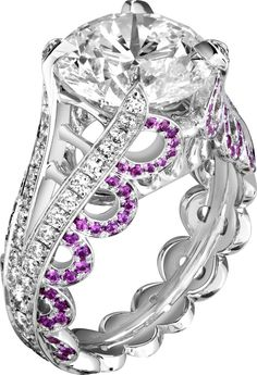 #Engagement #ring G34H0400 in white gold, diamonds and pink sapphires.