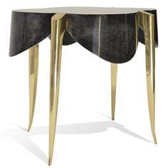 ST GERMAIN SIDE TABLE - GOATSKIN BRASS