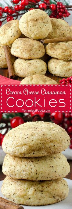 EASY CREAM CHEESE CINNAMON CHRISTMAS COOKIES Easy and best cream cheese cinnamon cookies recipe ever! Perfect cookies for holidays! Easy Cheesecake Recipes, Easy Cookie Recipes, Dessert Recipes, Easy Recipes, Cheesecake Cookies, Cheesecake Bites, Blueberry Cheesecake, Popular Recipes, Best Cookie Recipe Ever