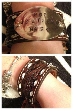 """Hot Southern Mess"" Cuff bracelet made with vintage western belts & vintage spoons.  Find us on Facebook at http://www.facebook.com/SilverDivas"