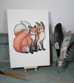 Fox Couple Illustration - A4 Print on 270gsm Card available in 3 Colours by LyndseyGreen on Etsy https://www.etsy.com/listing/200198832/fox-couple-illustration-a4-print-on