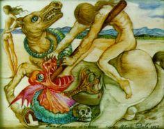 Saint George and the Dragon - Dali Salvador L'art Salvador Dali, Salvador Dali Paintings, Max Ernst, Magritte, Dali Artwork, Saint George And The Dragon, Saint Georges, Joan Miro, Caricature