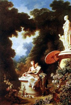 Fragonard - Confession of Love, 1771.  I like the strong difference in values of light between the fair-lovers and ther dark mystery of the voluptuous trees.