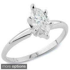 Auriya 14k Gold 1ct TDW Marquise Diamond Solitaire Engagement Ring (I-J, I1)