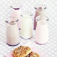 Farmstand Milk Bottles for a milk and cookies party! via Sweet Lulu