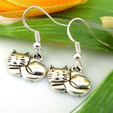 Lady 4 Pair Charm Fashion Jewelry Silver Cat Stud Earrings Free Ship