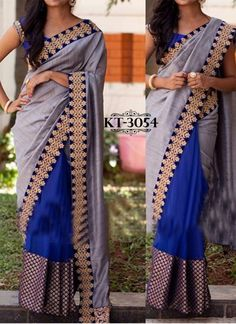 Buy online blue and grey embroidered and patch border designer contemporary saree. This designer contemporary saree is made with exclusive embroidered and patch border. Shop online beautiful designer contemporary saree now. Grey Saree, Blue Saree, Lehenga Wedding, Bridal Lehenga Choli, Fancy Sarees, Indian Outfits, Indian Clothes, Saree Blouse Designs, Bollywood Fashion