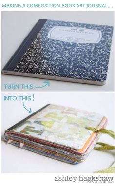 a Composition Book Art Journal. 'Making a Composition Book Art Journal.' (via Lil Blue Boo)'Making a Composition Book Art Journal.' (via Lil Blue Boo) Handmade Journals, Handmade Books, Handmade Notebook, Journal Covers, Art Journal Pages, Art Journaling, Diy Collage, Book Crafts, Paper Crafts