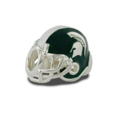 Michigan State Helmet Stainless Steel Enameled Bead - Collegiate Licensed Product