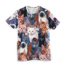 Cats Print 2D Effect Unisex T-Shirt (€16) ❤ liked on Polyvore featuring tops, t-shirts, multi, cat tee, pattern t shirts, unisex tops, cat print top and print t shirts