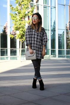 FASHION IS MY GIRLFRIEND   Fashion Blog: SO REAL DIOR SUNGLASSES + RIPPED JEANS + CHECKED SHIRT.