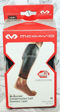 MCDAVID REFLECTIVE COMPRESSION 6577 CALF 14-15 SLEEVE PAIR BLACK ADULT MEDIUM #2 #McDavid