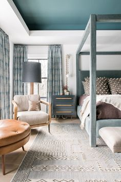 gorgeous layers of blue in this master bedroom designed by cortney bishop | house tour o on coco kelley