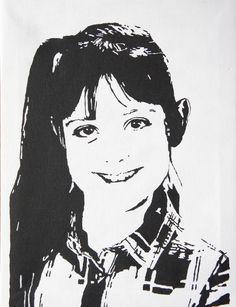 Tessel (9 jaar) in zwart-wit op een doek van 30 X 40 cm. Sprekende ogen!