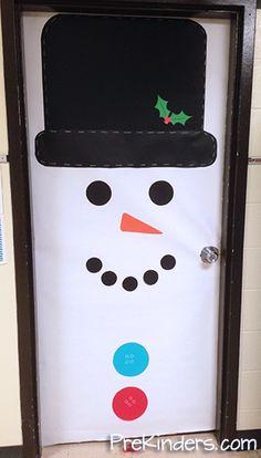 Decoración infantil para puerta: Muñeco de nieve.