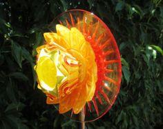 Garden Art Suncatcher -  glass garden flower Hand Painted  Red, Orange & Yellow - Outdoor Wall Art, Fence Art, Glass Plate Flower Garden Art