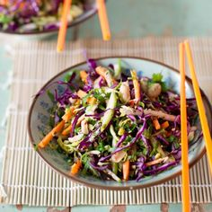 Fresh, crunchy and bursting with flavour, I love a good slaw with a refreshing Asian-inspired dressing. The peanuts and sesame seeds add texture and nuttiness, and the chilli adds a little bit of heat (of course it's up to you … Continued Asian Coleslaw, Asian Slaw, Vegetarian Recipes, Cooking Recipes, Healthy Recipes, Savoury Recipes, Healthy Options, Yummy Recipes, Chinese Cabbage Salad