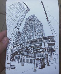 Paul Heaston: Fisher Building, Chicago #urbansketchers #uskchicago2017 #sketchbook #drawing #stillmanandbirn…