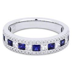 1.22ct Princess Cut Sapphire & Diamond & Round Diamond Pave Anniversary Ring / Wedding Band in 18k White Gold - AlfredAndVincent.com