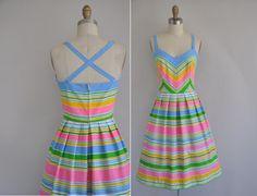 50s vintage dress / 1950s 50s cotton stripe full skirt dress / Summer Carnivals. $245.00, via Etsy.