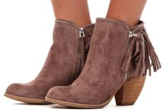 Lime Lush Boutique - Taupe Suede Fringe and Chain Bootie, $69.99 (http://www.limelush.com/taupe-suede-fringe-and-chain-bootie/)