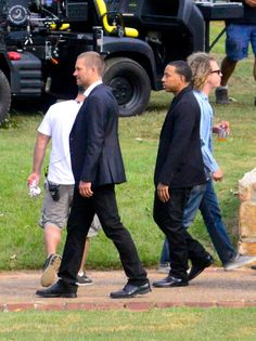 """Paul Walker and Ludacris on the set of """"Fast & Furious 7"""" on Sept. 13, 2013."""