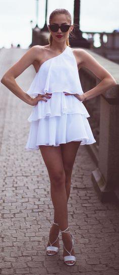 Ivyrevel White Ruffle One Shoulder Mini Summer Dress by Kenzas