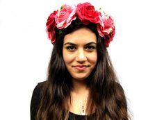 Velvet Rose Flower Crown. Day of the Dead, Día de Muertos, Frida Kahlo Costume, Lana Del Ray, High Fashion, Halloween, Headdress, Red Rose