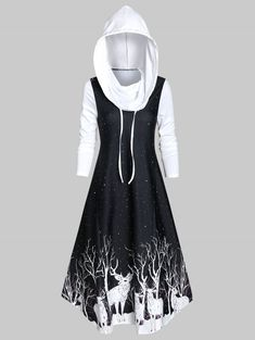 Hooded Deer Print Fit And Flare Long Sleeve Dress , Edgy Outfits, Cute Casual Outfits, Pretty Outfits, Dress Outfits, Cute Prom Dresses, Pretty Dresses, Beautiful Dresses, Girls Fashion Clothes, Teen Fashion Outfits