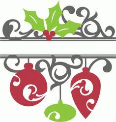 Silhouette Design Store: split christmas ornament flourish
