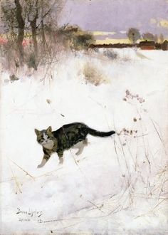Bruno Liljefors (Suecia, 1860-1939). Cat walking over snow.